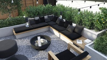 Backyard seating area with string lights