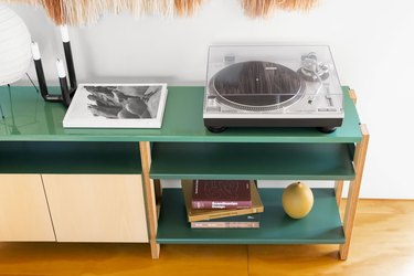 top view of media console with record player