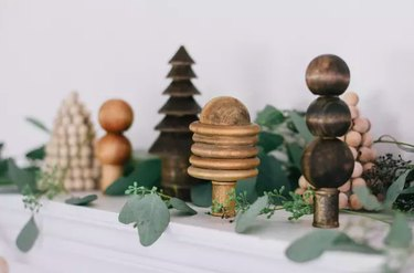 Christmas tree forest using wood beads