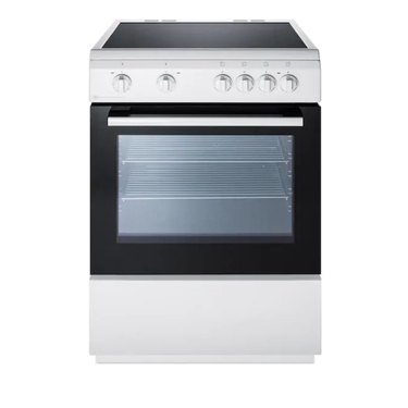 Stainless steel and black glass top electric stove with knobs and smooth cooktop