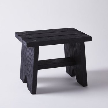 sustainable home decor with black step stool