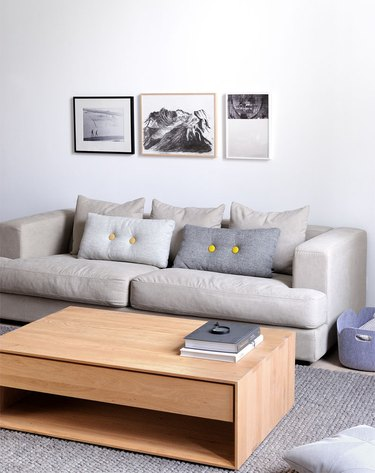 Scandinavian living room with coffee table with storage