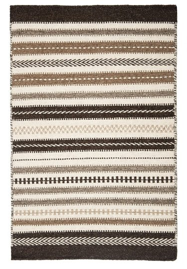 Brown and white striped bohemian eco-friendly rug