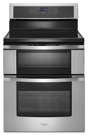 stove brand Whirlpool, stainless steel sflat top tove