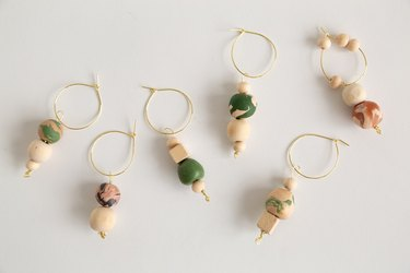 DIY Clay and wood bead wine charms