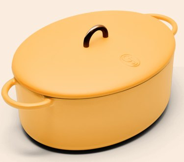 yellow ceramic coated cast iron cookware by Great Jones