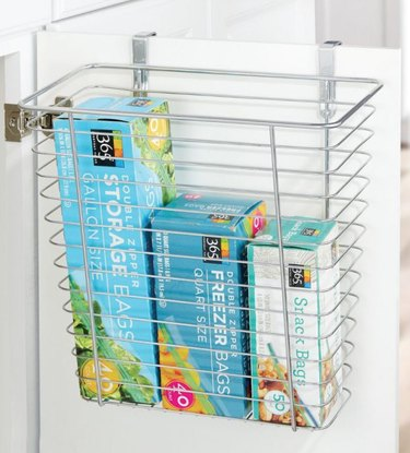 Over the Door Storage with Metal kitchen cabinet basket, storage bags.