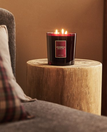 candle on side table
