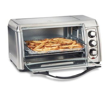 Toaster oven with french fries. small stove size