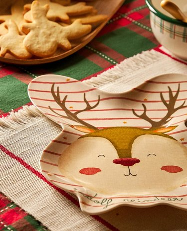 table with cookies and reindeer-shaped plate