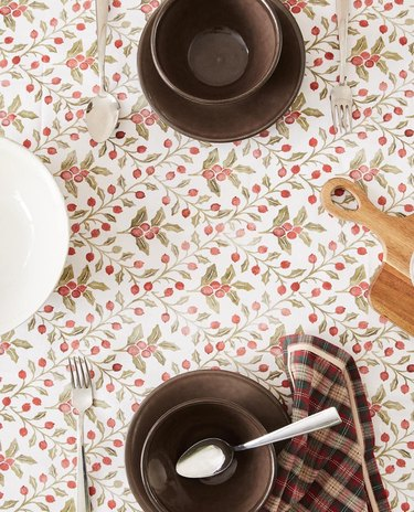 overhead shot of printed tablecloth