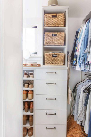 DIY Closet Organizer Ideas in white closet with rattan baskets