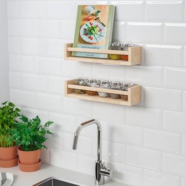 Spice organizer birch wall mounted