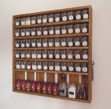 Spice Organizer with Glass Jars spoon set