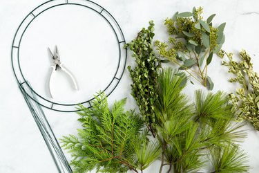 Supplies for DIY foraged holiday wreath