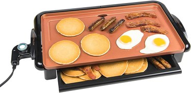 small stove size ideas Electric griddle with pancakes, eggs, sausage, bacon.