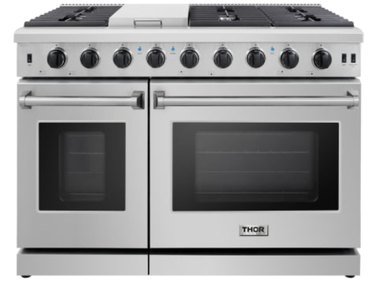 large double oven stainless range