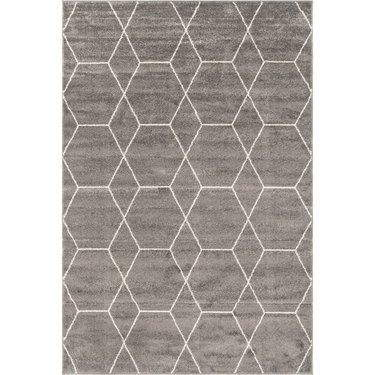 gray geometric rug