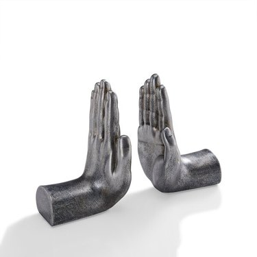 silver hand bookends