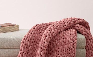 pink woven blanket
