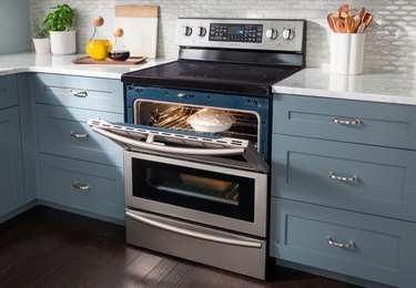 electric stove in a blue kitchen with open oven door