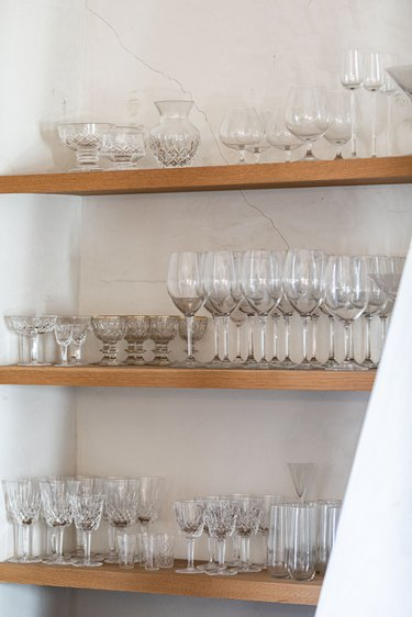 Shelves with glassware