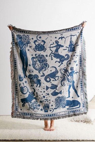 Blue and white Zodiac Woven Throw Blanket