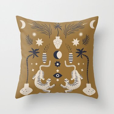 Illustrated tan throw pillow with tigers