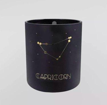 Capricorn Glass Jar Candle in Balck