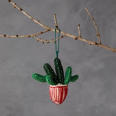 Terrain Potted Cactus Felt Ornament, $14