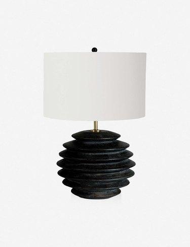 black accordion round table lamp