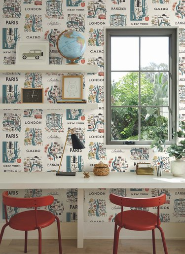 white desk with red chairs and cityscape wallpaper