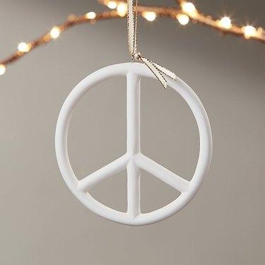 CB2 Bone China Peace Sign Ornament, $7.95