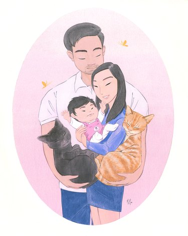 Family portrait with animals and child, acrylic on wood