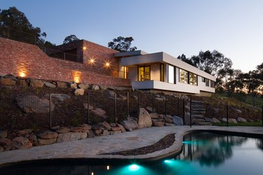 Contemporary pools hillside