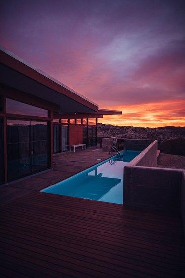 Contemporary Pools redwood deck