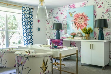 Desk Organization Ideas with Home office with white desk and floral wallpaper by Studio Ten 25