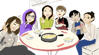 Group of women eating dim sum around a table