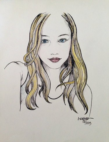 Pen drawing of portrait young woman with blond hair wearing a tank top