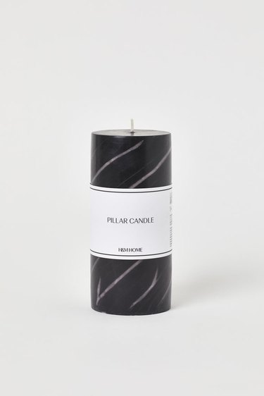 black and white marbled candle