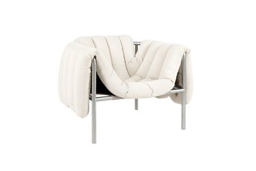puffy lounge chair in white