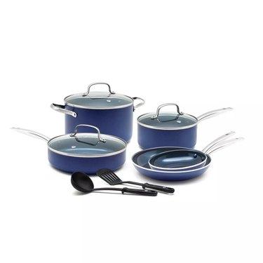 Navy blue ceramic cookware set