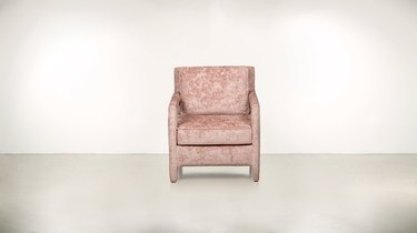 eco-friendly furniture with custom pink chair in velvet against white background