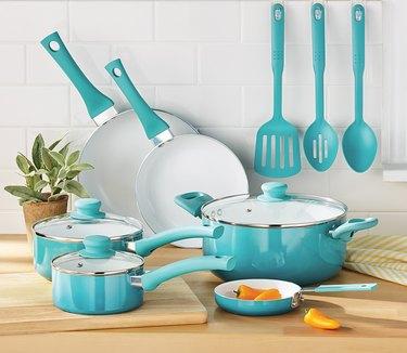 12-piece teal ceramic cookware set