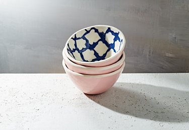 pink soup bowls with blue and white pattern