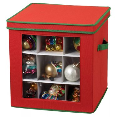 Red and green ornament storage box with clear window to see ornaments