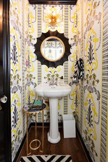black painted bathroom trim