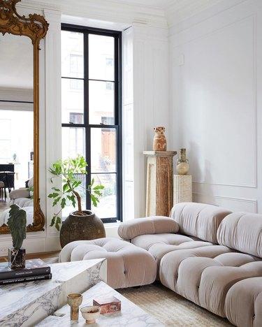 Athena Calderone living room featuring light beige Mario Bellini Camaleonda