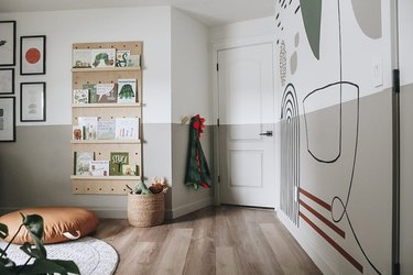 Playroom Organization Ideas with wall mural and pegboard