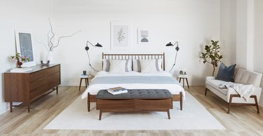 walnut bedroom storage bench with upholtered seat